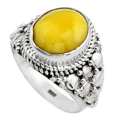 925 silver 5.11cts natural yellow amber bone oval solitaire ring size 7 p88860