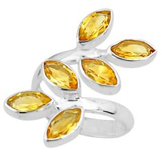 925 silver 11.95cts natural yellow citrine adjustable ring size 8 p77695