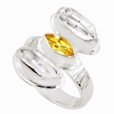 925 silver 9.10cts natural yellow citrine herkimer diamond ring size 8 p70904