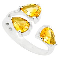 925 silver 3.92cts natural yellow citrine pear adjustable ring size 6.5 p73395