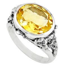 925 silver 4.93cts natural yellow citrine solitaire ring jewelry size 6.5 p73136