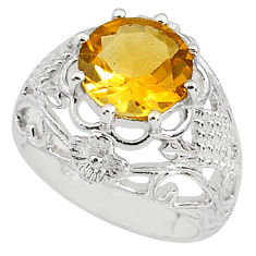 925 silver 5.42cts natural yellow citrine solitaire ring jewelry size 5.5 p81688