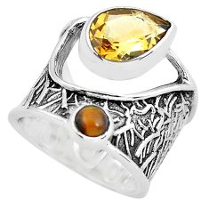 925 silver 5.33cts natural yellow citrine tiger's eye ring size 5.5 p61128