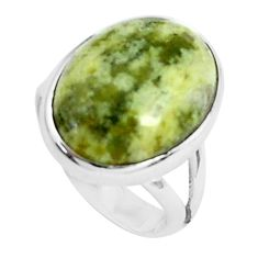 925 silver 12.34cts natural yellow lizardite oval solitaire ring size 7 p45917