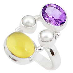 925 silver 7.40cts natural yellow opal amethyst white pearl ring size 6.5 p52633