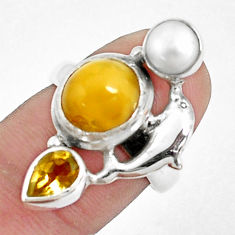 925 silver 7.83cts natural yellow opal citrine dolphin ring size 6.5 p42626