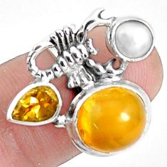 925 silver 8.41cts natural yellow opal citrine scorpion charm ring size 7 p42623