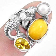 925 silver 7.84cts natural yellow opal pearl fairy mermaid ring size 6.5 p42639