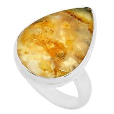 925 silver 13.70cts natural yellow plume agate pear solitaire ring size 8 p80594