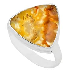 925 silver 12.62cts natural yellow plume agate solitaire ring size 8.5 p80600