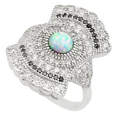 925 silver 4.52cts pink australian opal (lab) round topaz ring size 7 c2779
