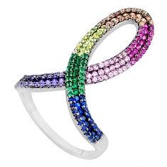 925 silver 2.47cts purple amethyst quartz emerald (lab) ring size 8 c3356