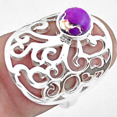 925 silver 1.56cts purple copper turquoise solitaire ring jewelry size 6 p40308