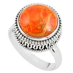 925 silver 6.62cts red copper turquoise solitaire ring jewelry size 8 p56634