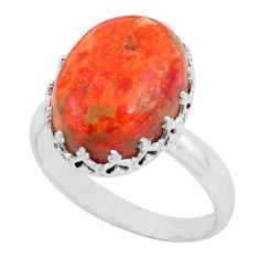 925 silver 10.30cts red copper turquoise solitaire ring jewelry size 9.5 p87907
