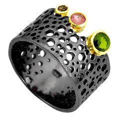 925 silver 1.10cts rhodium natural green peridot 14k gold ring size 7.5 p32890