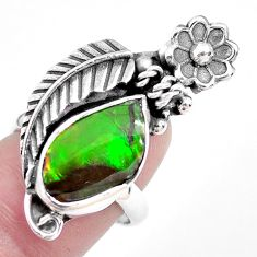 925 silver 10.04cts solitaire natural ammolite solitaire ring size 7.5 p42537