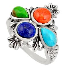 925 silver 5.95cts southwestern multi color copper turquoise ring size 8 c5540