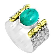 925 silver victorian fine green turquoise tibetan two tone ring size 6.5 p50605