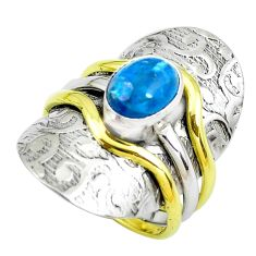 925 silver 3.24cts victorian natural blue apatite two tone ring size 8.5 p50519