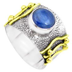 925 silver victorian natural blue kyanite two tone solitaire ring size 8 p50471
