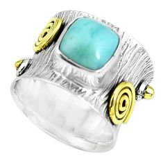 925 silver victorian natural blue larimar two tone solitaire ring size 6 p61944
