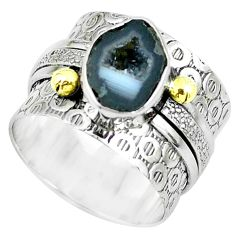 925 silver victorian natural geode druzy two tone solitaire ring size 7.5 p61925