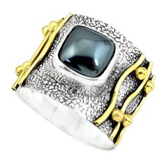 925 silver 3.15cts victorian natural hematite two tone ring size 6.5 p61292