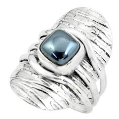 925 silver 3.85cts victorian natural hematite two tone ring size 8.5 p61296