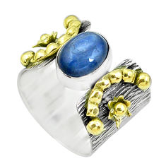 925 silver victorian natural kyanite two tone solitaire ring size 7.5 p50480
