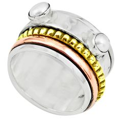 925 silver 2.61cts victorian natural pearl two tone spinner ring size 9 p77044
