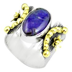 925 silver victorian natural sugilite two tone solitaire ring size 6.5 p61940