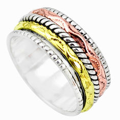 925 silver 6.48gms victorian two tone spinner band ring jewelry size 8 p32275