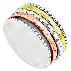 925 silver 6.69gms victorian two tone spinner band ring jewelry size 8.5 p77100