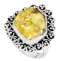 925 silver 10.64cts yellow citrine rough solitaire ring jewelry size 7 p33340