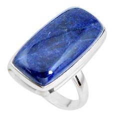 925 silver17.20cts natural blue sodalite solitaire ring jewelry size 9 p38799
