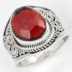 925 STERLING NATURAL RED RHODOLITE SILVER SOLITAIRE RING JEWELRY SIZE 6.5 H43578