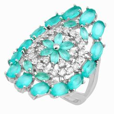 925 sterling silver 4.82cts aqua chalcedony topaz ring size 7.5 c5617