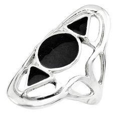 925 sterling silver 6.48gms black onyx enamel ring jewelry size 9 c1578