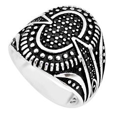 925 sterling silver 1.87cts black topaz mens ring jewelry size 8.5 c1076