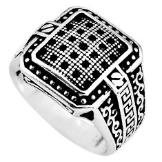 925 sterling silver 2.01cts black topaz round mens ring jewelry size 10 c1011