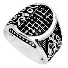 925 sterling silver 3.08cts black topaz round mens ring jewelry size 9 c1078