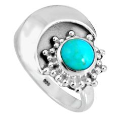 925 sterling silver 1.27cts blue arizona mohave turquoise ring size 5.5 d32586