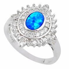 925 sterling silver 3.52cts blue australian opal (lab) topaz ring size 9.5 c2367