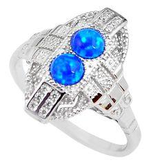 925 sterling silver 1.84cts blue australian opal (lab) topaz ring size 8 c2383