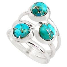 925 sterling silver 3.29cts blue copper turquoise ring jewelry size 6.5 p85804