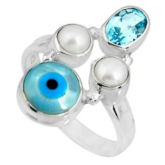 925 sterling silver 7.21cts blue evil eye talismans topaz ring size 6.5 p90724