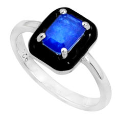 925 sterling silver 1.74cts blue sapphire (lab) enamel ring jewelry size 7 c2672