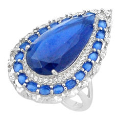 925 sterling silver 13.54cts blue sapphire (lab) topaz ring jewelry size 7 c2008