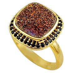 925 sterling silver 8.71cts brown druzy topaz 14k gold ring size 10 c4264